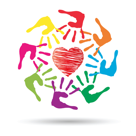 heart hand: Conceptual circle or spiral made of painted human hands with red heart love or health symbol