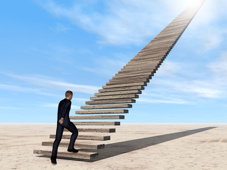 future: Conceptual 3D business man walking or climbing stair on sky background with clouds
