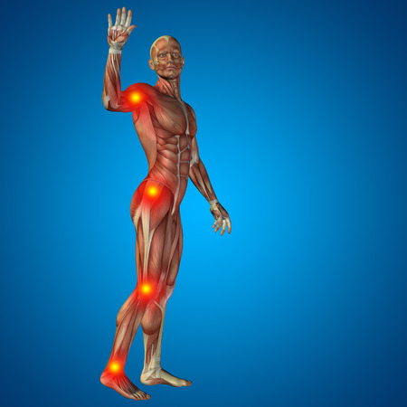 human leg: Conceptual 3D human man anatomy joint pain body on blue background Stock Photo