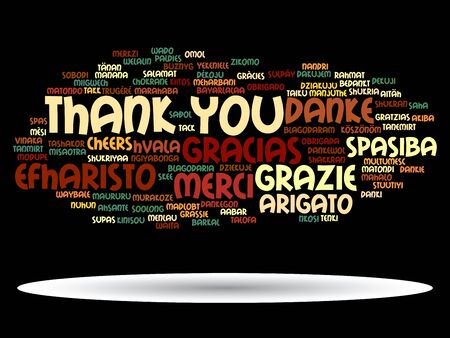 spanish language: Conceptual thank you word cloud isolated for business or Thanksgiving Day