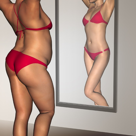 Conceptual 3D woman, girl as fat overweight vs fit healthy underweight anorexic female before and after diet in mirror