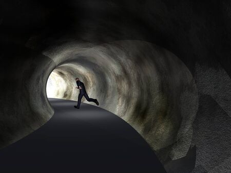 way to freedom: Conceptual 3D business man, dark road tunnel with bright light at the end background Stock Photo