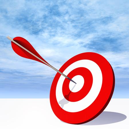 Conceptuel rouge carte cible de fléchettes avec une flèche au centre sur fond de ciel nuages Banque d'images