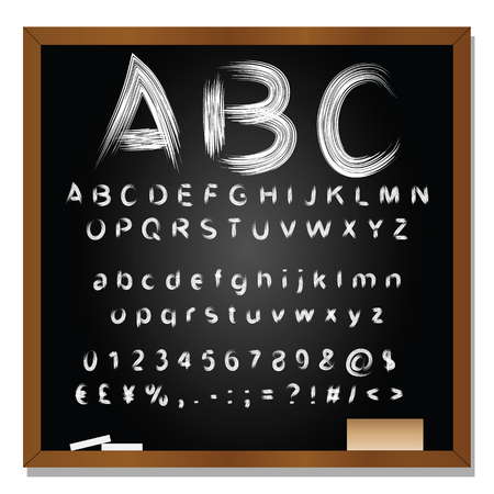 black board: Conceptual set or collection of white handwritten, sketch or scribble fonts isolated on blackboard background Stock Photo