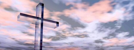 religious: Conceptual glass cross or religion symbol silhouette on water landscape over a sunset or sunrise sky banner Stock Photo