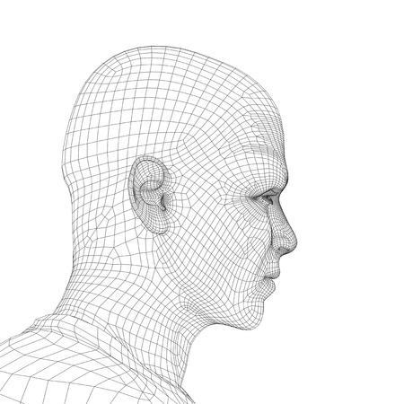 Concept of conceptuele 3D wireframe jong menselijk mannelijk of man gezicht of het hoofd geïsoleerd op achtergrond