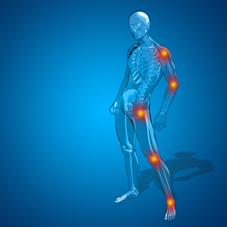 transparent body: Concept or conceptual 3D human man or male skeleton pain or ache anatomy transparent body, blue background