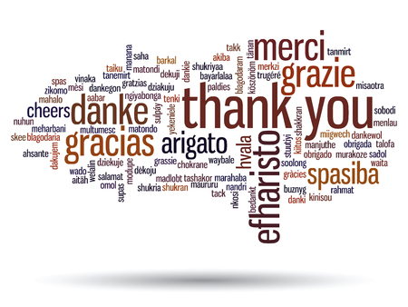 thanks: Conceptual thank you word cloud isolated for business or Thanksgiving Day