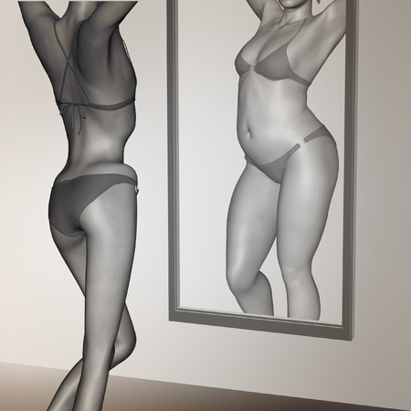 underweight: Conceptual 3D woman, girl as fat overweight vs fit healthy  underweight anorexic female before and after diet in mirror