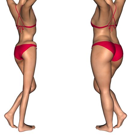 underweight: Conceptual 3D woman or girl as fat, overweight vs skinny underweight anorexic before and after