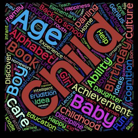 adolescente: Concepto o niño conceptual educación o familia palabra abstracta de nubes aisladas sobre fondo negro