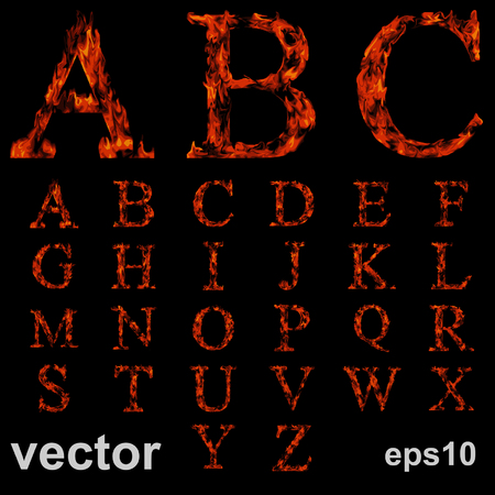 Vector concept conceptual red burning fire fonts isolated on black background. It is a set, group or collection letters in red and orange flames