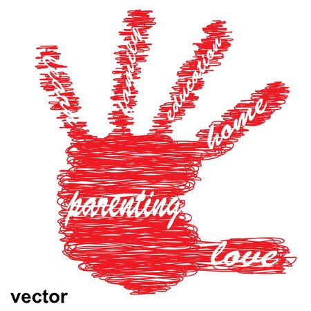 love life: Vector concept or conceptual education hand print word cloud, white background as sketch or scribble