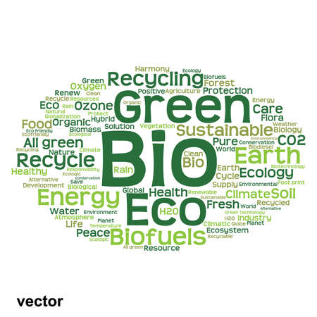 ecology background: Vector concept or conceptual abstract green ecology or energy and conservation word cloud text isolated on white background