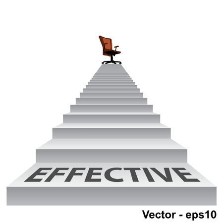 upstairs: Concept conceptual 3d stair climbing to a leader,chief or promotion chair on top isolated white background with business text