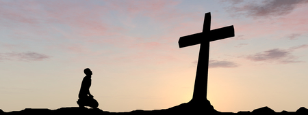 Conceptual religion black cross with a man praying at sunset background banner 스톡 콘텐츠