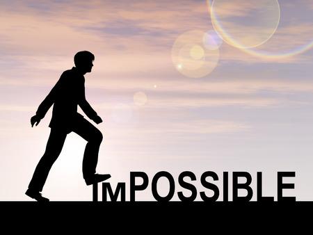 attitude: Conceptual concepto de texto imposible con un hombre al fondo del atardecer