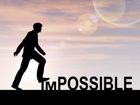 actitud: Conceptual concepto de texto imposible con un hombre al fondo del atardecer