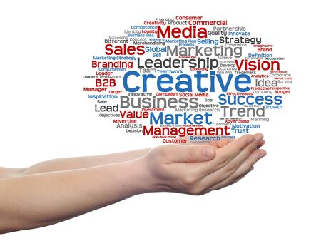 consumerism: Conceptual business word cloud in hands isolated on background