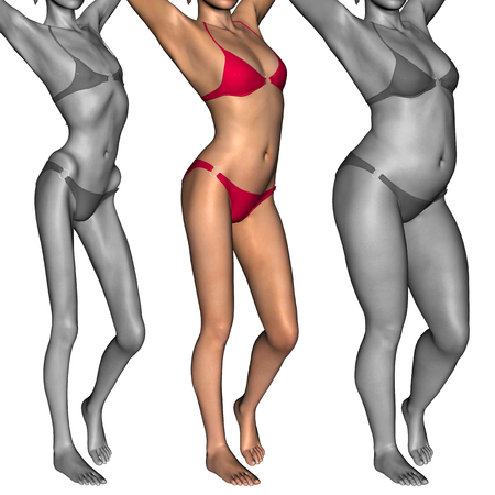 fat: Conceptual 3D woman or girl as fat, overweight vs fit healthy, skinny underweight anorexic Stock Photo