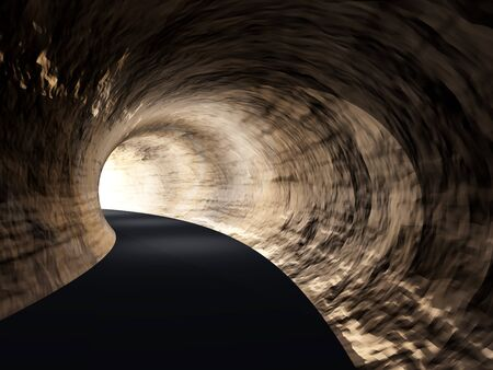 fear illustration: Conceptual dark abstract road tunnel with bright light at the end background Stock Photo