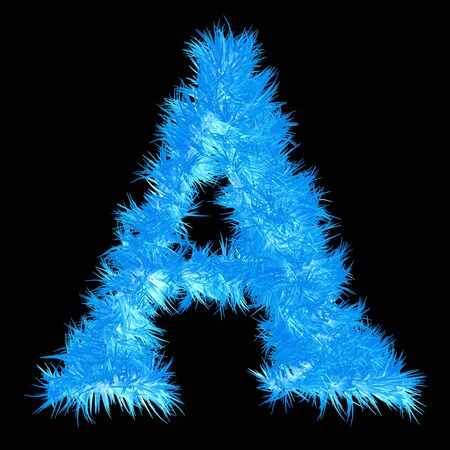 icy: Conceptual 3D blue frost or ice font part of set or collection isolated on black background for winter Stock Photo