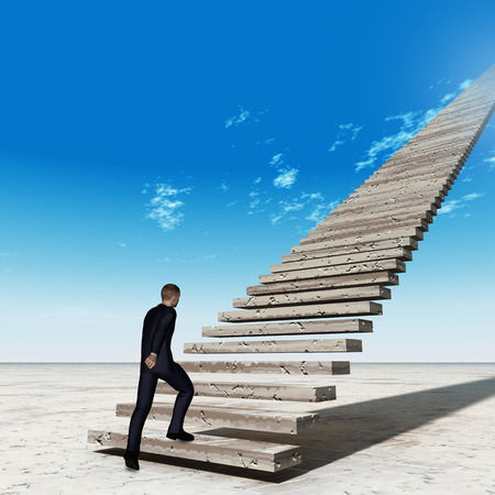 Concept conceptual 3D business man walking or climbing stair on sky background with clouds