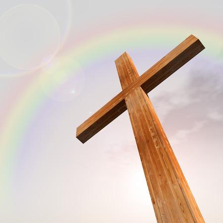Concept ou bois conceptuel croix ou un symbole en forme de religion sur un ciel bleu avec des nuages ??de fond