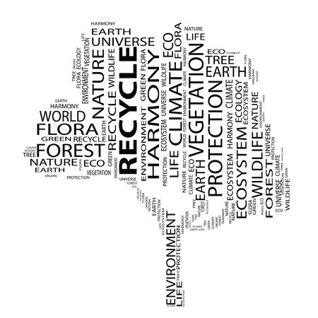 conceptual: Conceptual ecology tree word cloud background Stock Photo