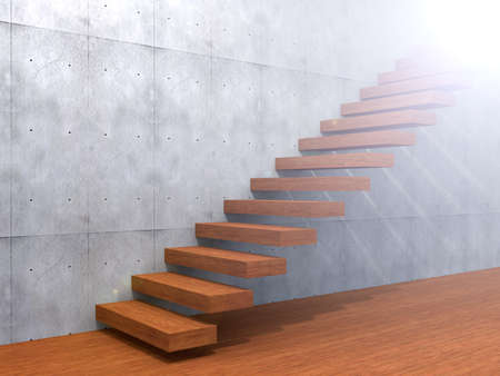 stairway to heaven: Concept or conceptual brown wood or wooden stair or steps near a wall background on  floor