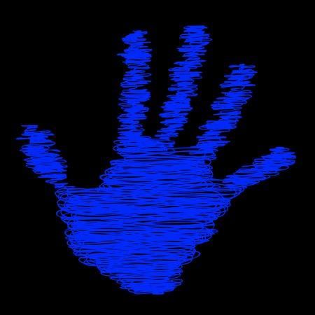 print conceptuel croquis de la main de l'enfant isolé sur fond noir