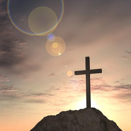 Concetto o concettuale forma di croce religione simbolo sopra il cielo al tramonto con nuvole di sfondo