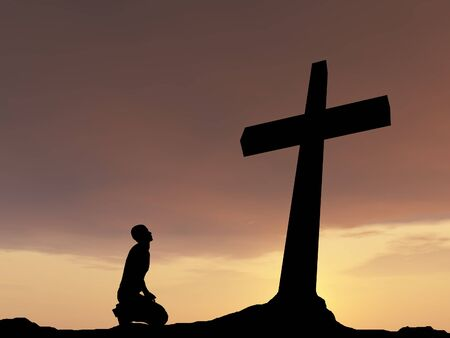 jesus cross: Conceptual religion black cross with a man praying at sunset background Stock Photo