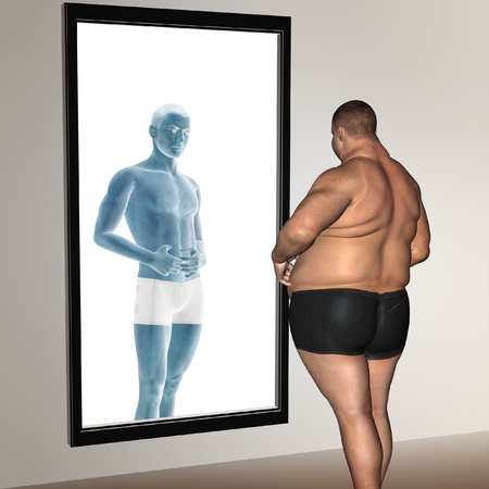 nude male body: Human man fat and slim concept in mirror