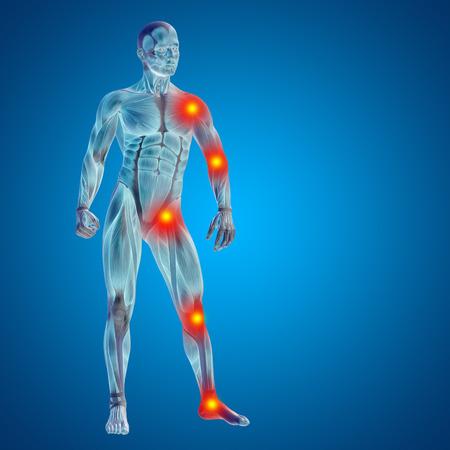 Conceptual cuerpo dolor en las articulaciones hombre anatomía humana en 3D sobre fondo azul