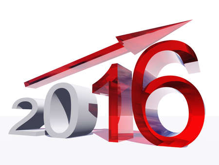 profit celebration: Conceptual 3D red 2016 year symbol with an arrow isolated on white background