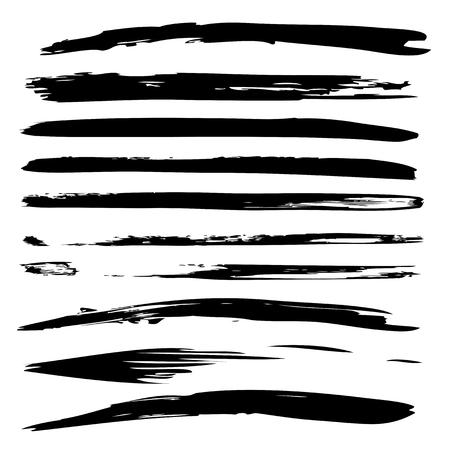 コレクションまたは黒塗装手のセット作った白い背景に分離された創造的なブラシ ストローク