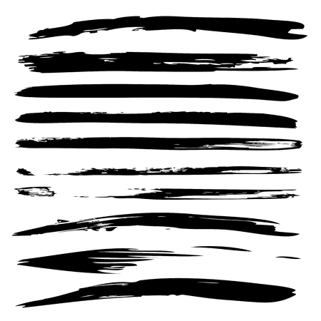 Collection or set of black paint hand made creative brush strokes isolated on white background