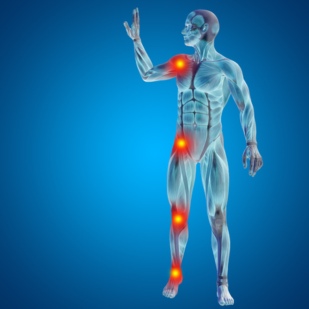 meniscus: Conceptual 3D human man anatomy joint pain body on blue background Stock Photo