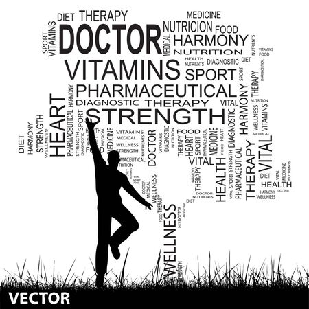 physique: Conceptual black health text word cloud as tree and grass, a man jumping isolated on white background