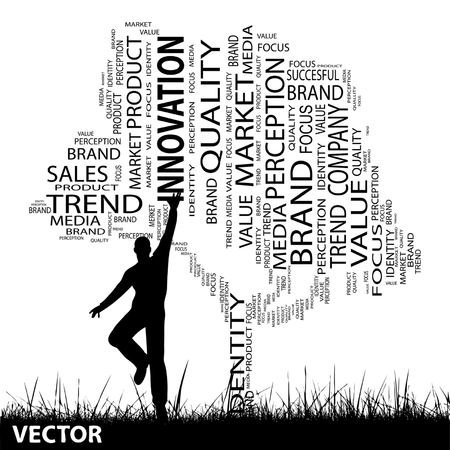 man jumping: Vector concept or conceptual black business media tree and grass word cloud, a man jumping on white background