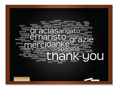 multilingual: Vector concept or conceptual blackboard thank you word cloud, different languages or multilingual for education or thanksgiving day Illustration