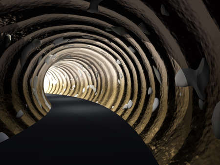 road tunnel: Conceptual dark abstract road tunnel with bright light at the end background Stock Photo