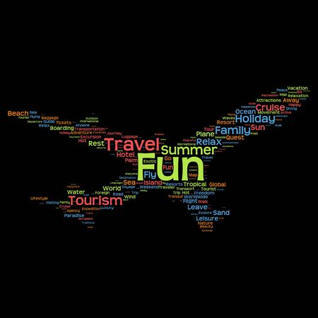 travel agency: Conceptual travel or tourism plane silhouette word cloud isolated on black background Stock Photo