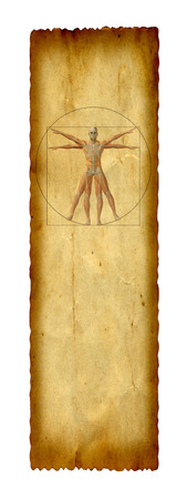 correlation: Concept or conceptual vitruvian human body drawing on old paper