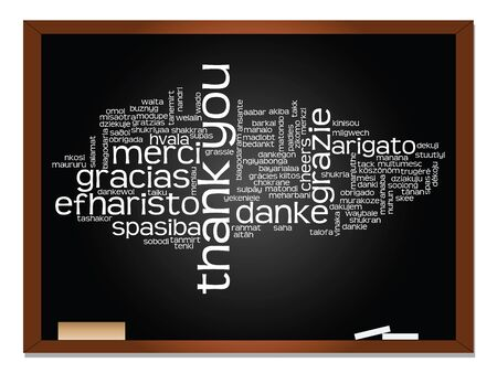 multilingual: Concept or conceptual blackboard thank you word cloud, different languages or multilingual for education or thanksgiving day