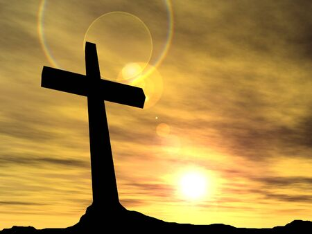 cruz religiosa: Conceptual cruz de color negro o religión símbolo silueta en el paisaje de roca sobre un fondo de la puesta del sol