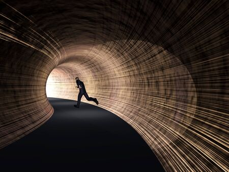 Conceptual 3D business man, dark road tunnel with bright light at the end background Banco de Imagens
