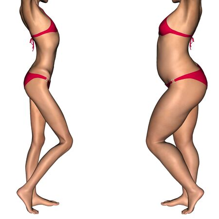 emaciated: Conceptual 3D woman or girl as fat, overweight vs skinny underweight anorexic before and after