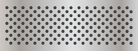 perforated: Vector concept conceptual gray metal stainless steel aluminum perforated pattern texture mesh background banner